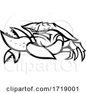 Angry Red King Crab Mascot Black And White