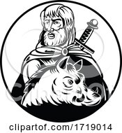 Freyr Or Frey God In Norse Mythology With Sword And Wild Boar Retro Woodcut Black And White