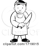 Cartoon Japanese Butcher Holding Knife Viewed From Front Black And White
