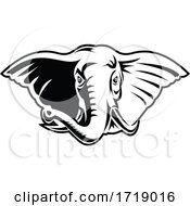 Elephant With Long Tusks Head Front Mascot Retro Black And White