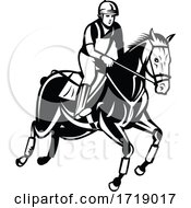 Equestrian Riding Horse Show Jumping Or Stadium Jumping Retro Black And White