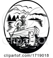 Trout Fisherman On Boat Fishing In Lake With Rod And Reel Hooking Fish Retro Black And White
