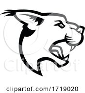 Head Of Angry Caracal Side Mascot Black And White
