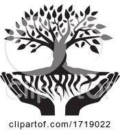 Poster, Art Print Of Black And White Tree And Roots And Uplifted Hands