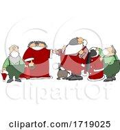 Poster, Art Print Of Cartoon Santa Getting Ready For A Corona Virus Christmas