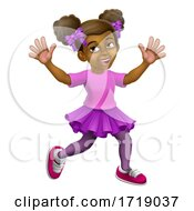 Poster, Art Print Of Happy Black Girl Cartoon Child Kid Waving Running