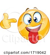 Poster, Art Print Of Yellow Smiley Emoji Pointing A Finger To His Head
