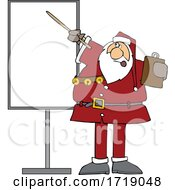 Cartoon Sauta Claus Talking And Pointing To A Board