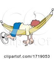 Cartoon Man Sleeping In A Hammock