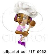 Poster, Art Print Of Black Girl Cartoon Child Chef Kid Sign
