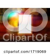 3D Blank Picture Frame On A Defocussed Bokeh Lights Background