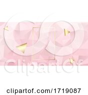 Poster, Art Print Of Abstract Geometric Pink And Gold Banner Design