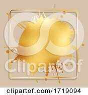 Poster, Art Print Of Gold Foil Splatter With Golden Frame