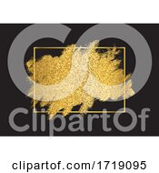Gold Glitter Background With Metallic Golden Frame