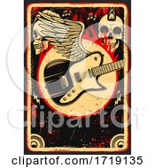Grungy Skull And Guitar Background