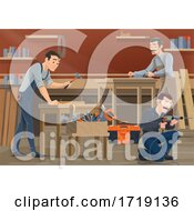 Poster, Art Print Of Carpenters Working In A Shop