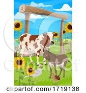 Poster, Art Print Of Turkey Cow And Donkey On A Farm