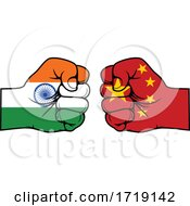 Poster, Art Print Of Fisted Indian And Chinese Flag Hands