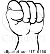 Poster, Art Print Of Fist Up Hand Punch Cartoon Icon