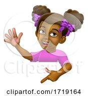 Black Girl Cartoon Child Kid Pointing Sign