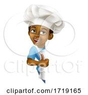 Poster, Art Print Of Black Boy Cartoon Child Chef Kid Sign Thumbs Up