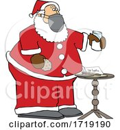 Poster, Art Print Of Cartoon Covid Santa With A Christmas Snack