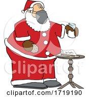 Cartoon Covid Santa With A Christmas Snack
