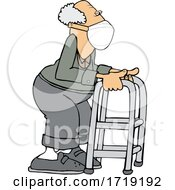 Cartoon Senior Man Wearing A Mask And Using A Walker