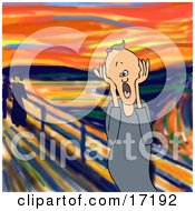 People Clipart Illustration Image Of A Frustrated Caucasian Man A Father Husband Or Manager Holding His Hands To His Cheeks While Screaming A Humorous Parody Of The Scream By Edvard Munch