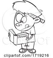 Cartoon Outline Boy Using A Dictionary