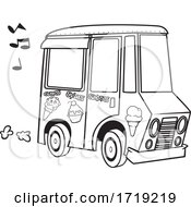 Cartoon Outline Ice Cream Truck With Music Notes