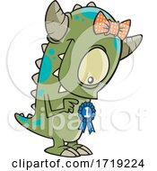 Cartoon Monster With A Winner Medal by toonaday