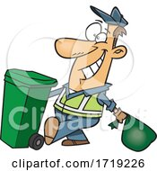Cartoon Happy Garbage Man by toonaday