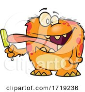 Cartoon Monster Licking A Popsicle by toonaday