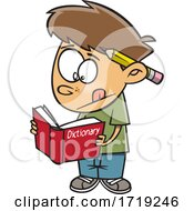 Cartoon Boy Using A Dictionary