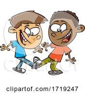 Cartoon Boys Doing A Foot Shake