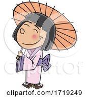 Cartoon Japanese Girl With A Parasol