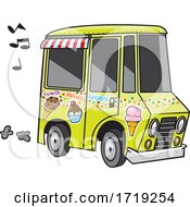 Poster, Art Print Of Cartoon Ice Cream Truck With Music Notes
