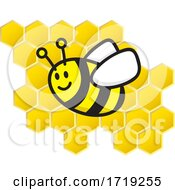 Poster, Art Print Of Cute Bee Over Honeycombs