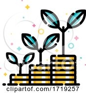 Poster, Art Print Of Financial Investments Or Money Savings Concept With Stacks Of Coins With Plants Growing Up