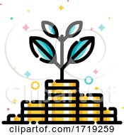 Poster, Art Print Of Income Increase And Make More Money Concept With Plant Growing Out Of Gold Coins