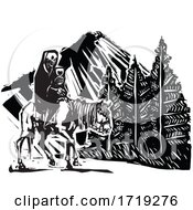 Black and White Woodcut Horseback Skeleton and Mountain by xunantunich #COLLC1719276-0119