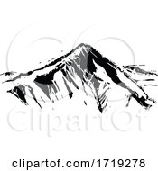 Black And White Woodcut Mountain by xunantunich