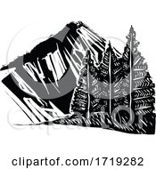 Black and White Woodcut Mountain and Trees by xunantunich #COLLC1719282-0119