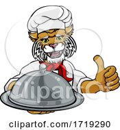 Wildcat Chef Mascot Sign Cartoon Character by AtStockIllustration