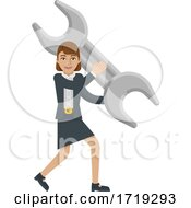 Business Woman Holding Spanner Wrench Mascot