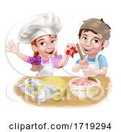 Poster, Art Print Of Kid Chef Child Cartoon Characters Baking
