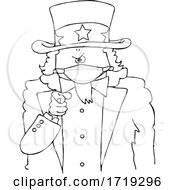 Black And White Uncle Sam Pointing At The Viewer And Wearing A Mask