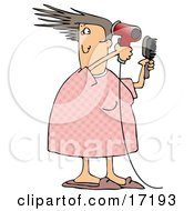 Caucasian Woman Her Pjs Holding A Hairbrush And Using A Red Blow Dryer To Dry And Style Her Hair While Getting Ready For Work In The Morning