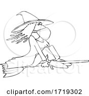 Cartoon Black And White Halloween Witch Flying And Wearing A Mask